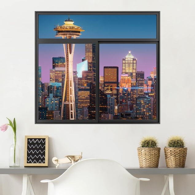 Produktfoto 3D Wandtattoo - Fenster Schwarz Seattle Skyline in Pink