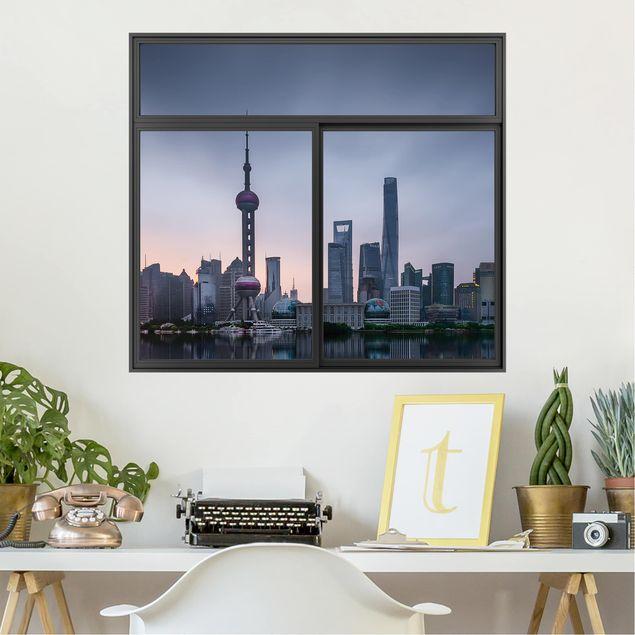 Produktfoto 3D Wandtattoo - Fenster Schwarz Shanghai Skyline Morgenstimmung