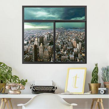 Produktfoto 3D Wandtattoo - Fenster Schwarz Skyline New York im Gewitter