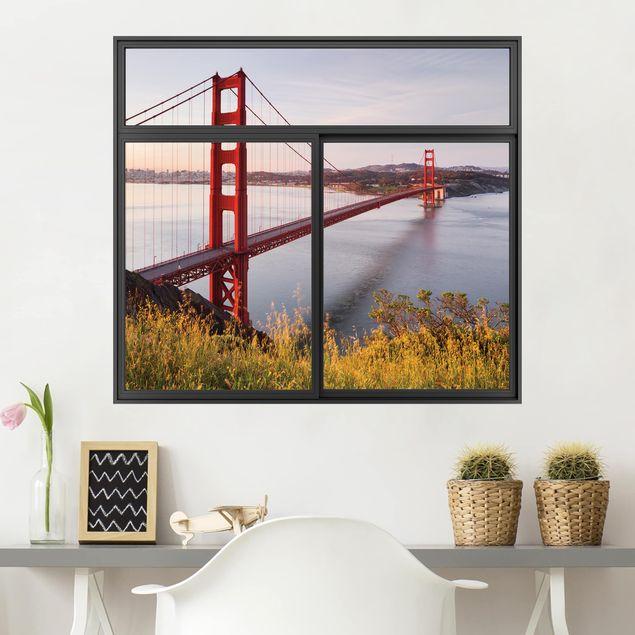 Produktfoto 3D Wandtattoo - Fenster Schwarz Golden Gate Bridge in San Francisco