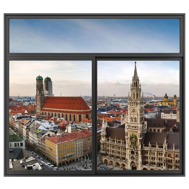Produktfoto 3D Wandtattoo - Fenster Schwarz City of Munich