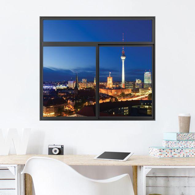 Produktfoto 3D Wandtattoo - Fenster Schwarz Fernsehturm bei Nacht