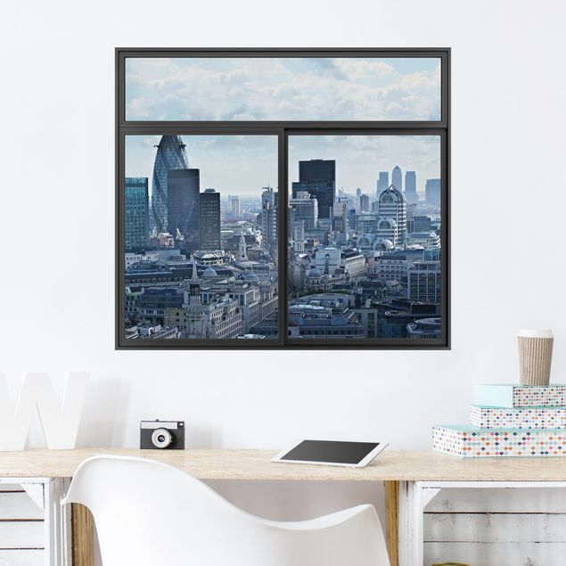 Produktfoto 3D Wandtattoo - Fenster Schwarz London Skyline