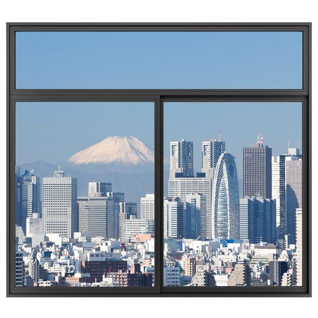 Produktfoto 3D Wandtattoo - Fenster Schwarz Tokio vor dem Mount Fuji