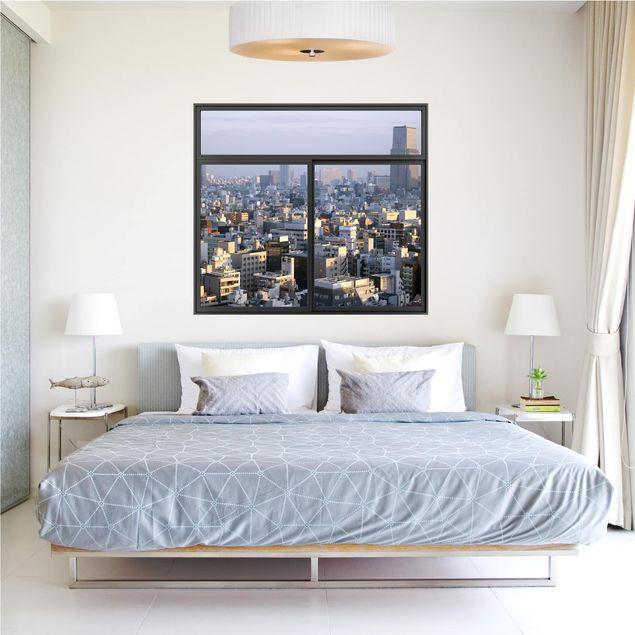 Produktfoto 3D Wandtattoo - Fenster Schwarz Tokyo City