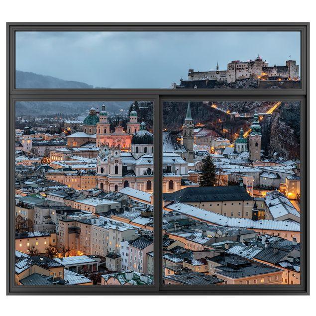 Produktfoto 3D Wandtattoo - Fenster Schwarz Verschneites Salzburg