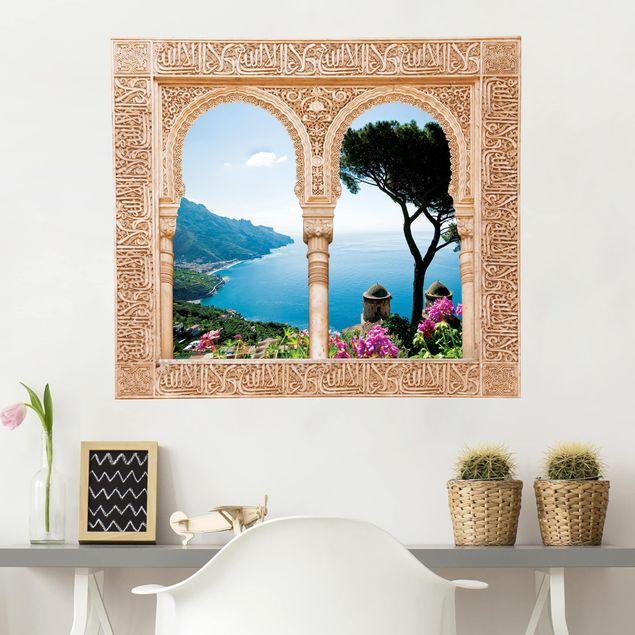 Produktfoto 3D Wandtattoo - Verziertes Fenster Ausblick vom Garten aufs Meer