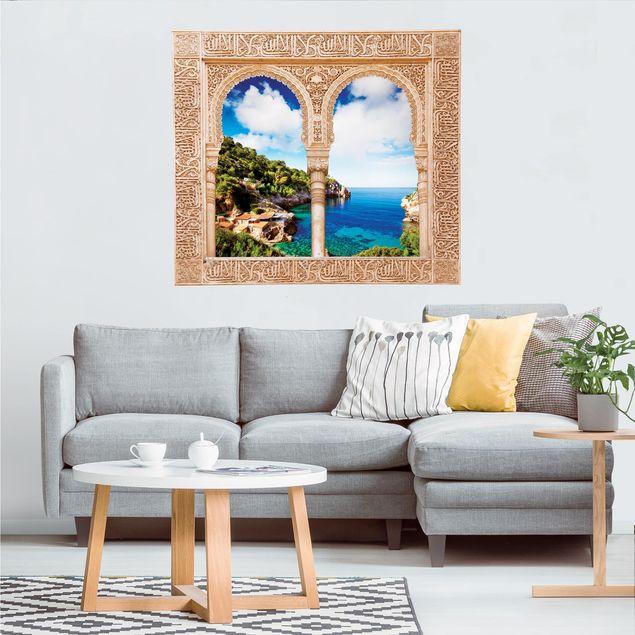 Produktfoto 3D Wandtattoo - Verziertes Fenster Cala de Deia in Mallorca