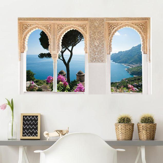 Produktfoto 3D Wandtattoo - Verzierte Fenster Ausblick vom Garten aufs Meer
