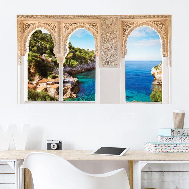 Produktfoto 3D Wandtattoo - Verzierte Fenster Cala de Deia in Mallorca