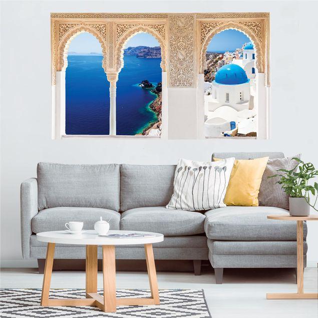 Produktfoto 3D Wandtattoo - Verzierte Fenster View Over Santorini