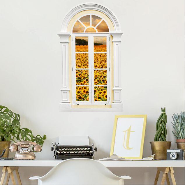 Produktfoto 3D Wandtattoo - Fenster Mediterran Feld mit Sonnenblumen