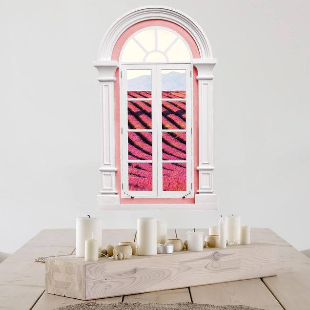 Produktfoto 3D Wandtattoo - Fenster Mediterran Lavendel