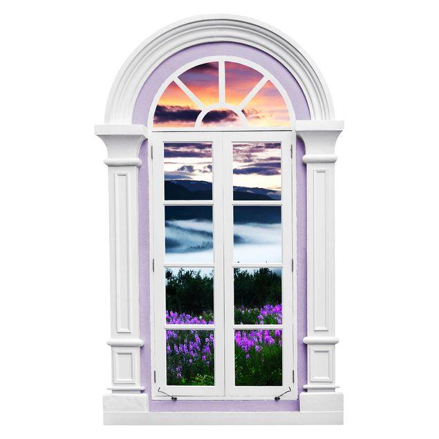 Produktfoto 3D Wandtattoo - Fenster Mediterran Paradiesisches Tal in Norwegen