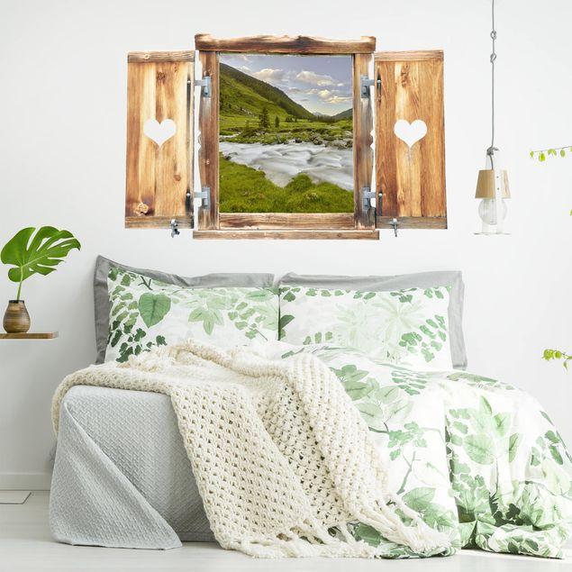 Produktfoto 3D Wandtattoo - Fenster mit Herz Alpenwiese Tirol