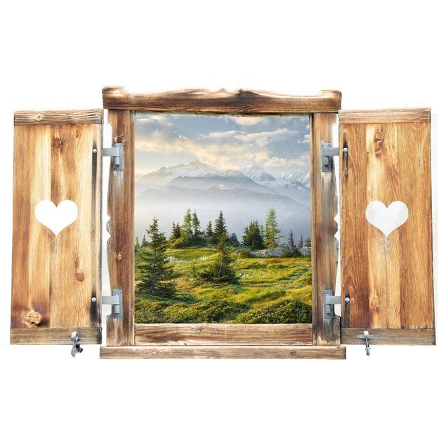 Produktfoto 3D Wandtattoo - Fenster mit Herz Émosson Wallis Schweiz