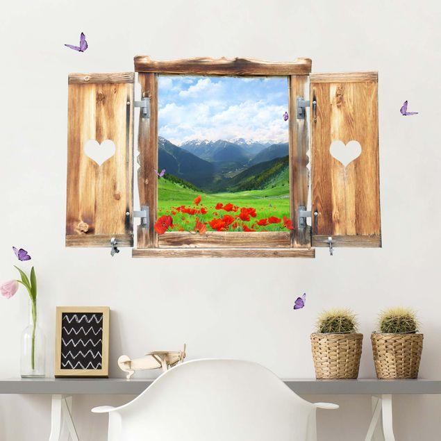 Produktfoto 3D Wandtattoo - Fenster mit Herz Alpenwiese