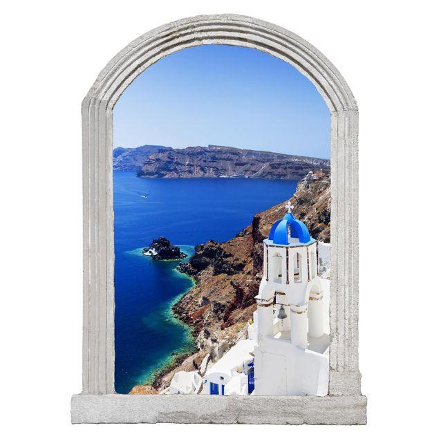 Produktfoto 3D Wandtattoo - Steinbogen View Over Santorini