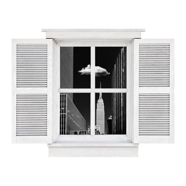 Produktfoto 3D Wandtattoo - Flügelfenster New York mit einzelner Wolke