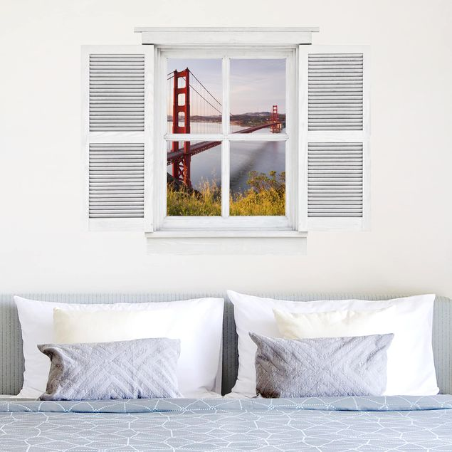Produktfoto 3D Wandtattoo - Flügelfenster Golden Gate Bridge in San Francisco