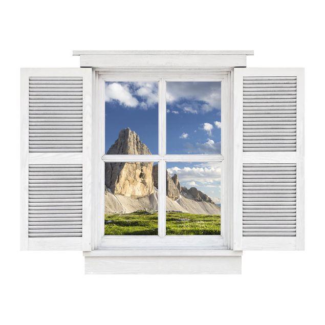 Produktfoto 3D Wandtattoo - Flügelfenster Südtiroler Zinnen und Wasserspiegelung