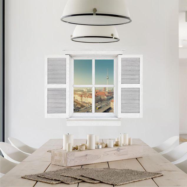 Produktfoto 3D Wandtattoo - Flügelfenster Berlin am Morgen