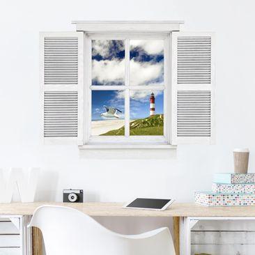 Immagine del prodotto Trompe l'oeil adesivi murali - Finestra con brezza tra le dune