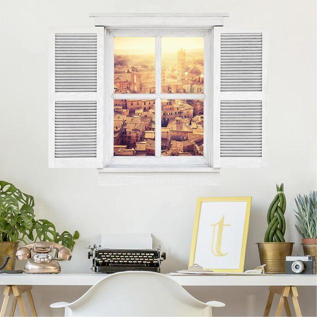 Produktfoto 3D Wandtattoo - Flügelfenster Fiery Siena