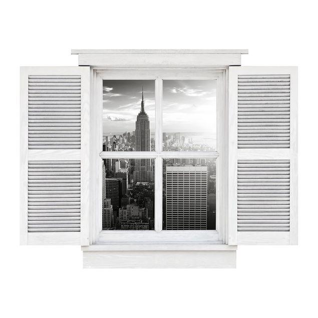 Produktfoto 3D Wandtattoo - Flügelfenster Manhattan Skyline