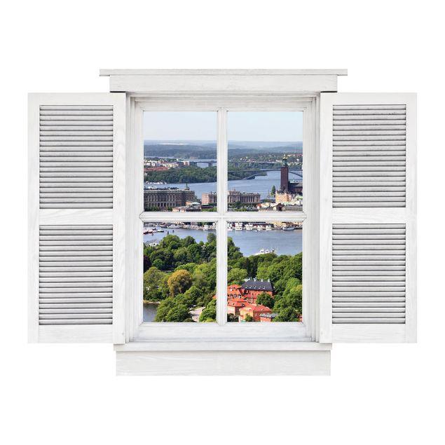 Produktfoto 3D Wandtattoo - Flügelfenster Stockholm City