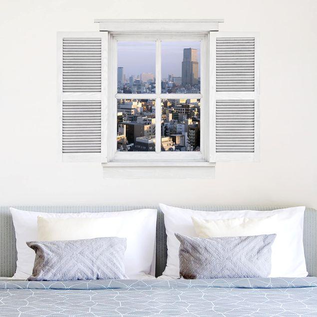 Produktfoto 3D Wandtattoo - Flügelfenster Tokyo City