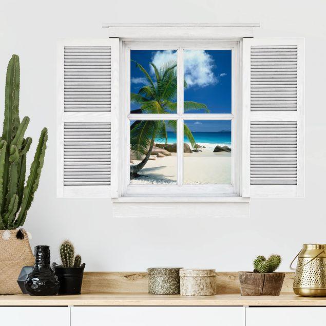 Produktfoto 3D Wandtattoo - Flügelfenster Traumstrand
