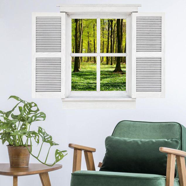 Produktfoto 3D Wandtattoo - Flügelfenster Waldwiese