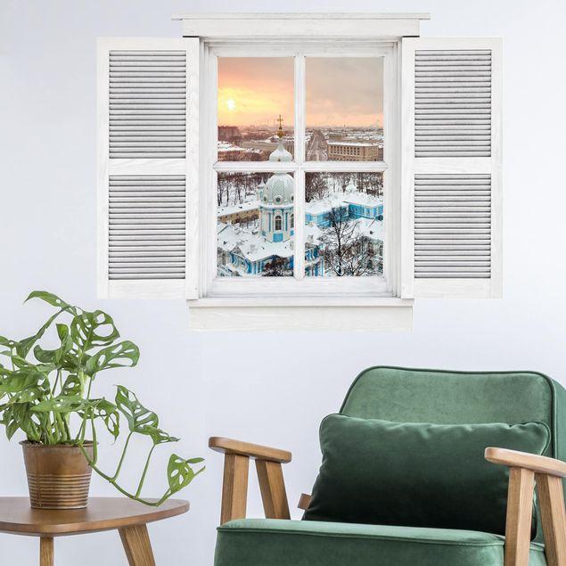 Produktfoto 3D Wandtattoo - Flügelfenster Winter in St. Petersburg