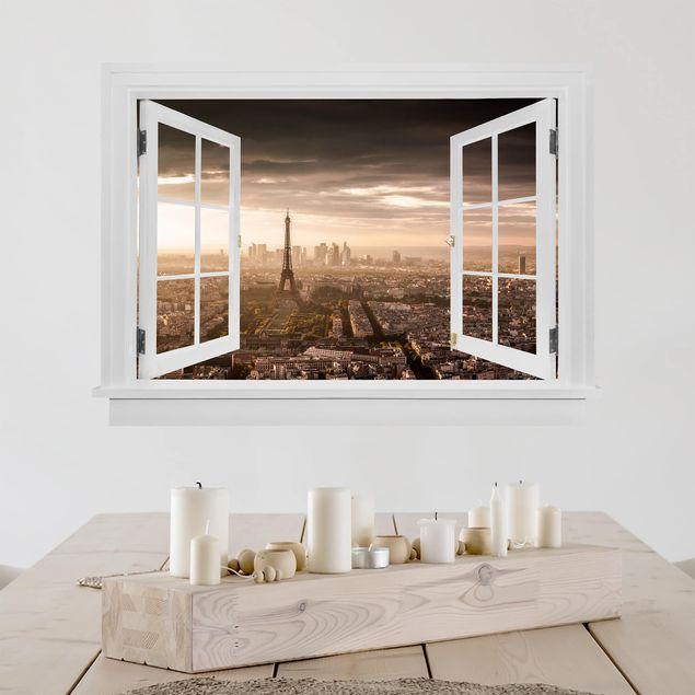 Produktfoto 3D Wandtattoo - Offenes Fenster Großartiger Blick über Paris