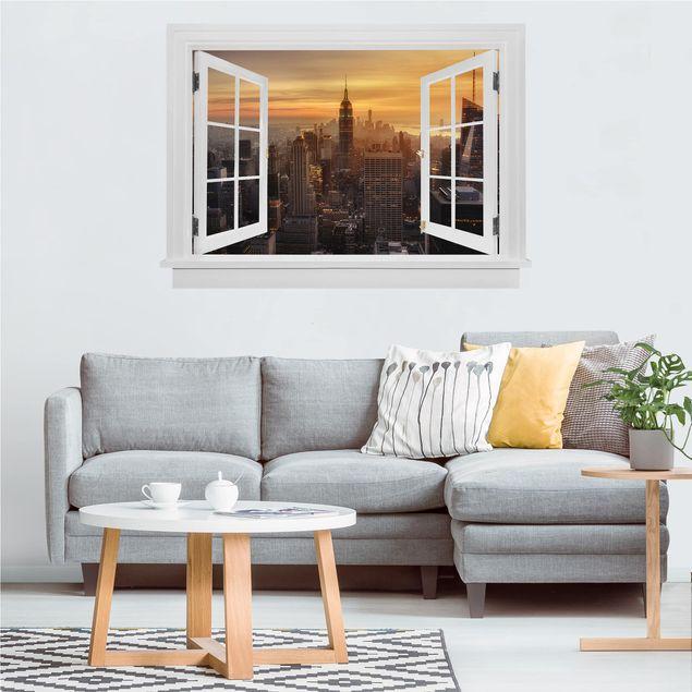 Produktfoto 3D Wandtattoo - Offenes Fenster Manhattan Skyline Abendstimmung