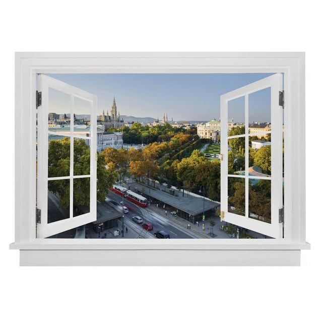Produktfoto 3D Wandtattoo - Offenes Fenster Blick über Wien