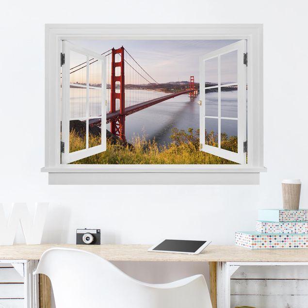 Produktfoto 3D Wandtattoo - Offenes Fenster Golden Gate Bridge in San Francisco