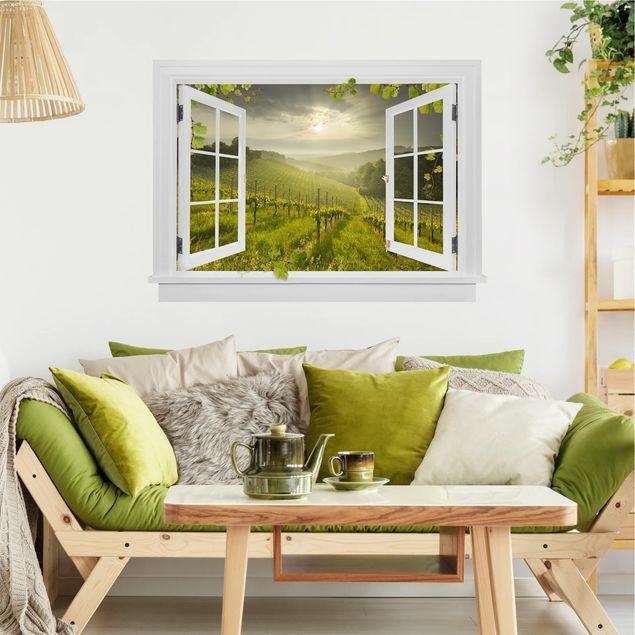 Produktfoto 3D Wandtattoo - Offenes Fenster Sonnenstrahlen Weinberg mit Ranken und Trauben