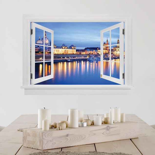 Produktfoto 3D Wandtattoo - Offenes Fenster Canaletto-Blick bei Nacht