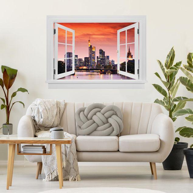 Produktfoto 3D Wandtattoo - Offenes Fenster Frankfurt Skyline