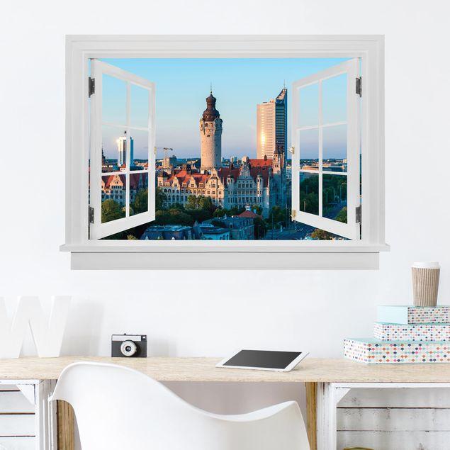 Produktfoto 3D Wandtattoo - Offenes Fenster Leipzig Skyline