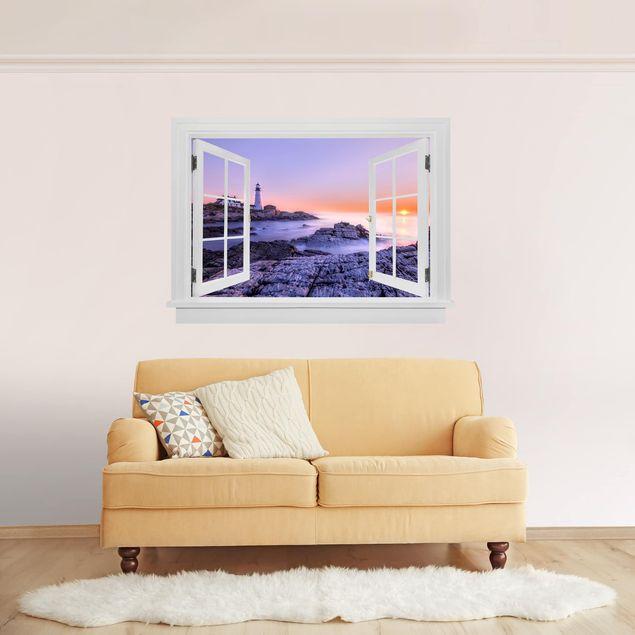 Produktfoto 3D Wandtattoo - Offenes Fenster Leuchtturm am Morgen