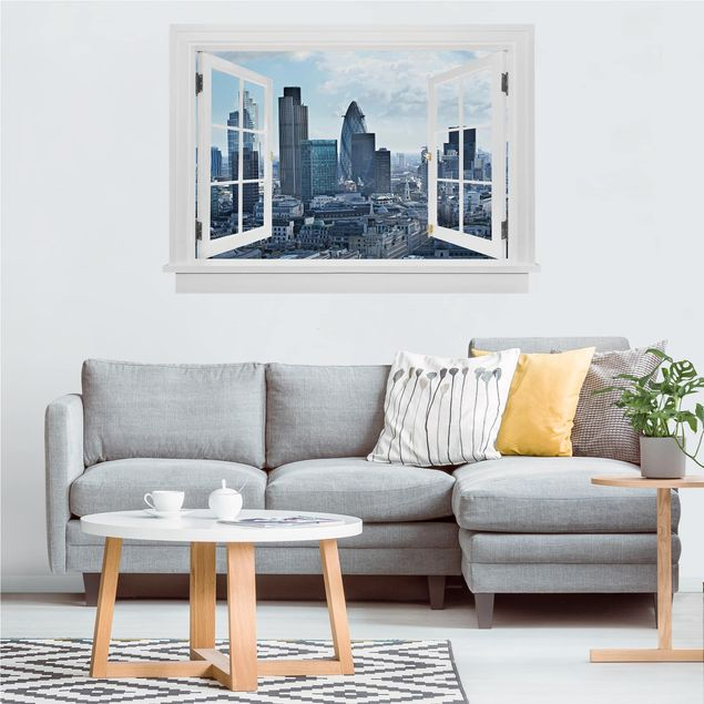 Produktfoto 3D Wandtattoo - Offenes Fenster London Skyline