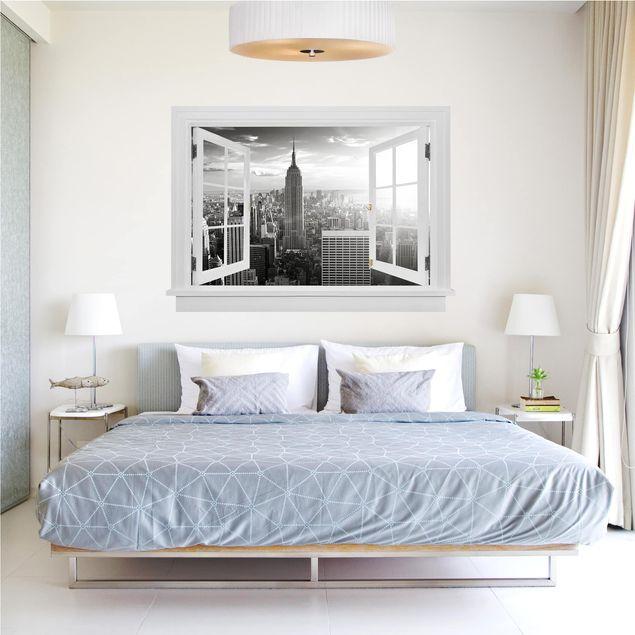 Produktfoto 3D Wandtattoo - Offenes Fenster Manhattan Skyline