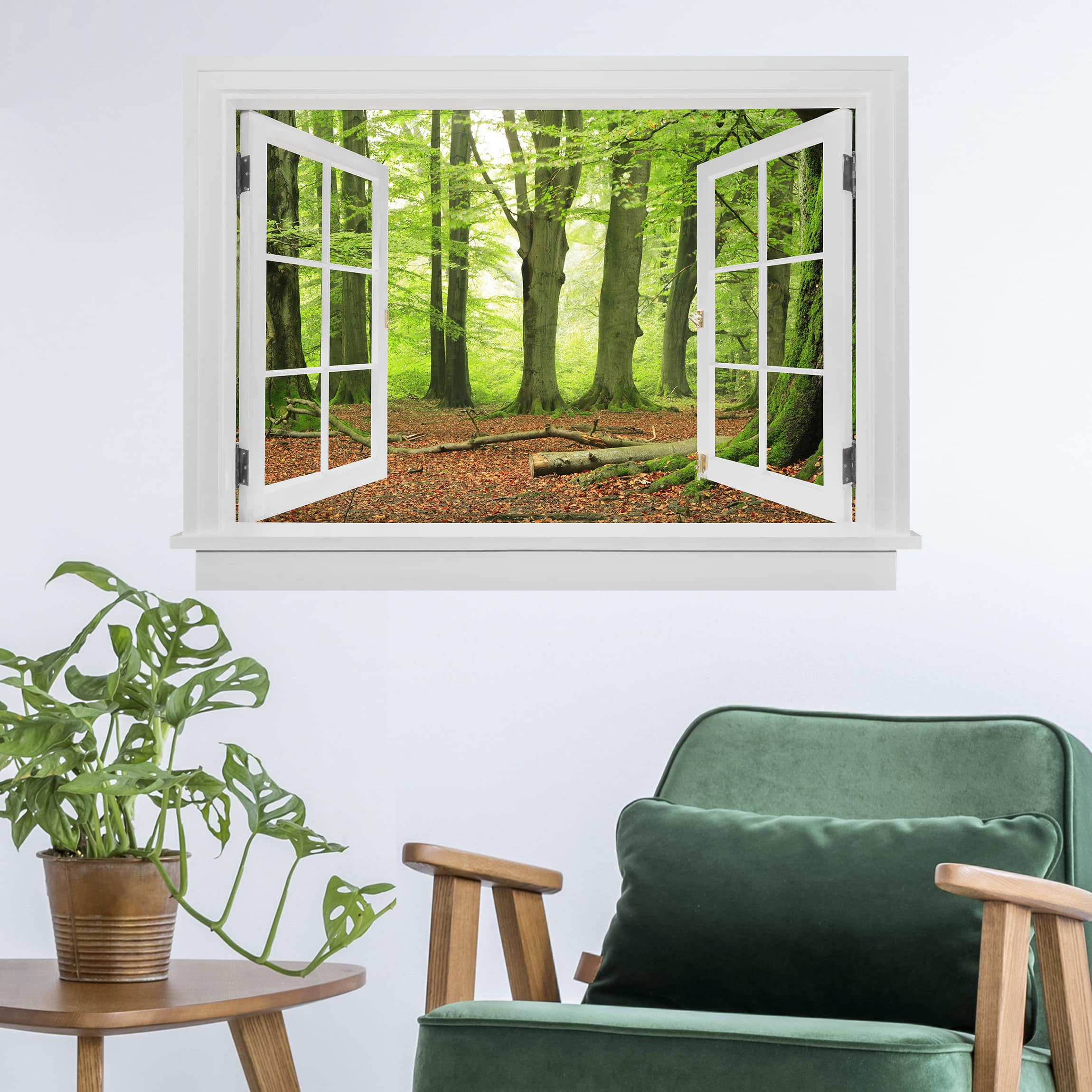 Trompe L Oeil Adesivi Murali.Trompe L Oeil Adesivi Murali Finestra Aperta Mighty Beech Trees