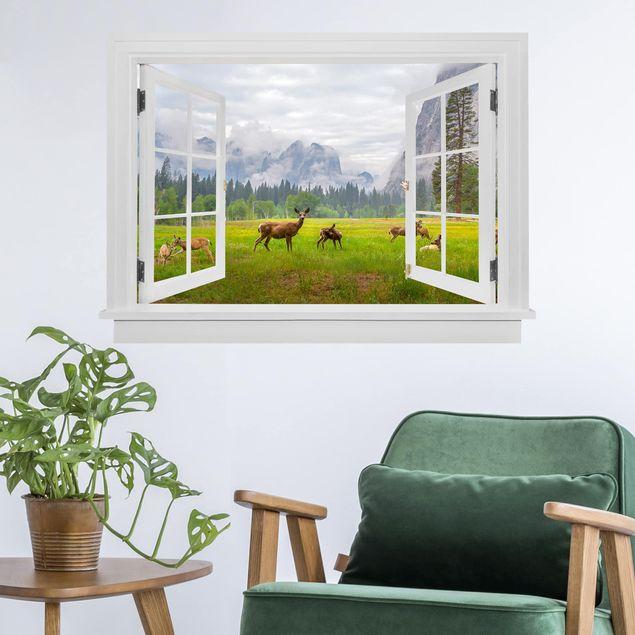 Produktfoto 3D Wandtattoo - Offenes Fenster Rehe in den Bergen