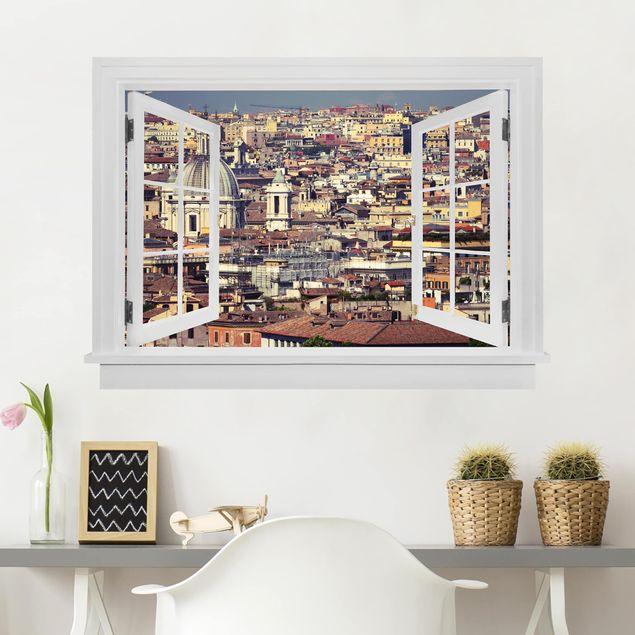 Produktfoto 3D Wandtattoo - Offenes Fenster Rome Rooftops