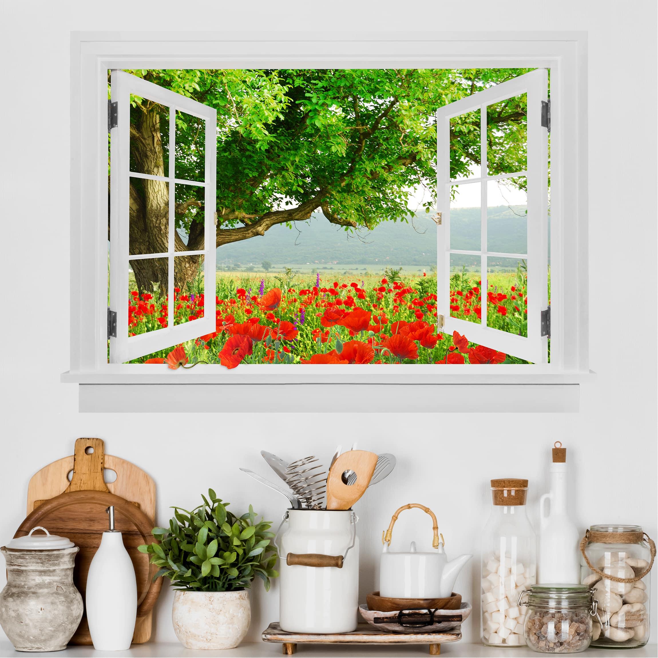 3D Wandtattoo - Offenes Fenster Sommerwiese mit Blumenkasten