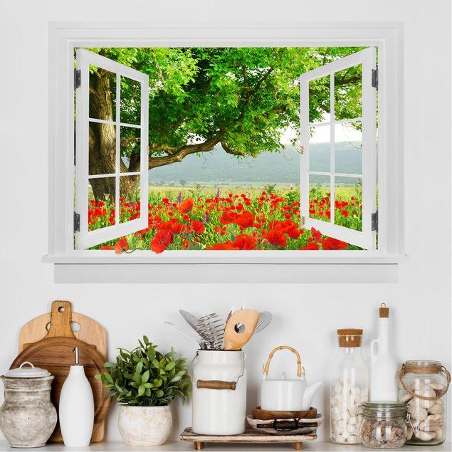Produktfoto 3D Wandtattoo - Offenes Fenster Sommerwiese mit Blumenkasten